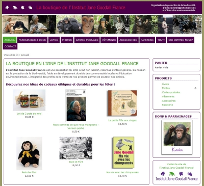 Boutique en ligne de l'Institut Jane Goodall France
